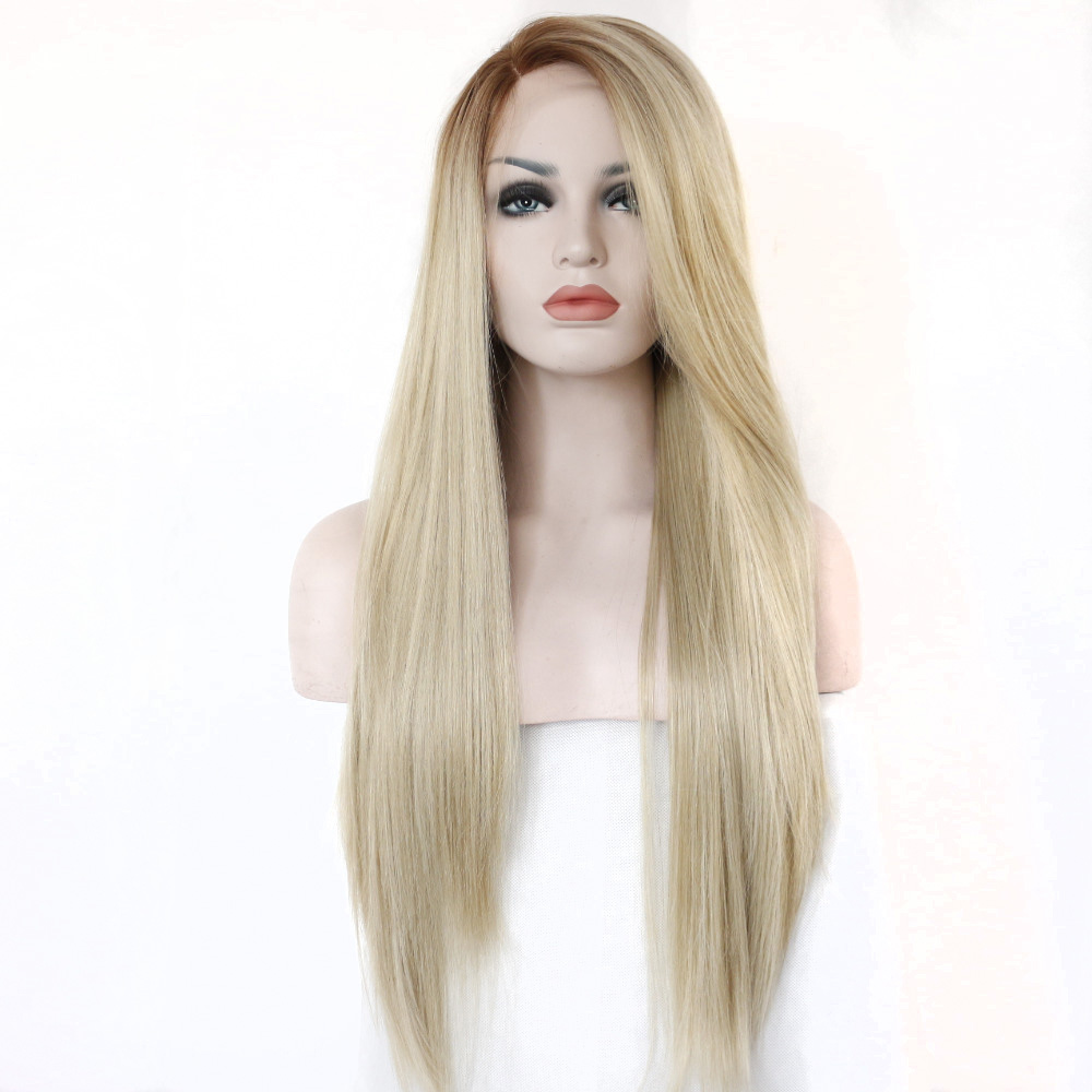 Blonde Hair Long Straight Lace Front Women Wig Perruque Cheveux Synthetic Parrucca Bionda Pelucas Sinteticas Lace Frontal Sexy<br><br>Aliexpress