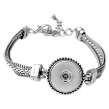 Hot Wholesale Snap Button Bracelet&Bangles Silver Plated Bracelet For Women Man High Quality DIY Rivca 18mm Snap Button Jewelry(China)