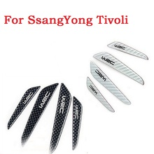 Car door crash decorative trim scuff plate auto door scratch bumper carbon fiber strip 3D stickers for SsangYong Tivoli