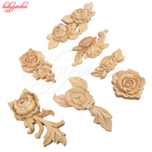 1PC New Flower Wood Carving Natural Wood Appliques for Furniture Cabinet Unpainted Wooden Mouldings Decal Decorative Figurine(China)