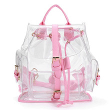 Free Shipping Women's Clear Backpack See Through Security Transparent Women Bag Travel Bag Backpack female Mochilas femininas(China)