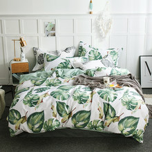 2018 Green Leaves Print Bedding Set Cotton Duvet Cover Set Flat Sheet Fitted Sheet Twin Double Queen King Size Bedlinen(China)