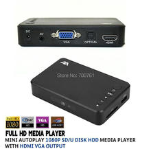 2pcs Mini Autoplay Full HD1080p USB External SD/U Disk HDD Media Player With HDMI /AV/VGA Output in Aluminum shell