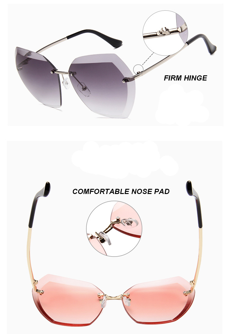 2017 New Cutting Rimless Sunglasses Fashion Ocean Lenses Sun Glasses Ladies Big Polygon Gradient Eyewear Clear Lenses  UV400