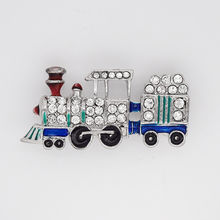 Fashion Brooch Rhinestone Enamel Train Pin brooches jewelry gift C2544(China)