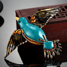 Blucome Cute Birds Brooches Pins For Women Gifts Fashion Blue Enamel Rhinestone Brooch Men Jewelry Vintage Bags Accessories
