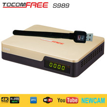 Full hd satellite receiver strong decoder Tocomfree S989 with H.265 IPTV Newcam for south America