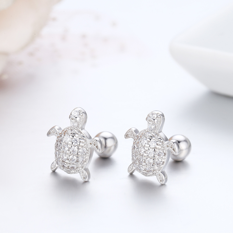 Cute 925 Sterling Silver Cluster CZ Turtle Screw Back Stud Earrings For Women Girls Kids Piercing Jewelry Orecchini Aros Aretes 1