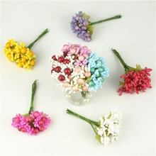 10PCS/lot Mulberry Artificial Flower Stamen Wire Stem Silk Leaves Fake Flowers Stamen Wedding Cake Scrapbooking Party Decoration
