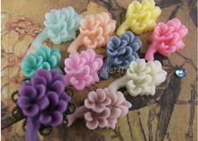 Personality style mixed color 20pcs decorative Corsage DIY accessories handmade jewelry material resin flowers 13mmx21mm(China)