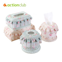 Actionclub Lace Cloth Art Pastoral Tissue Storage Box Flower Pattern Desktop Storage Bag Home Decoration Three Sizes(China)