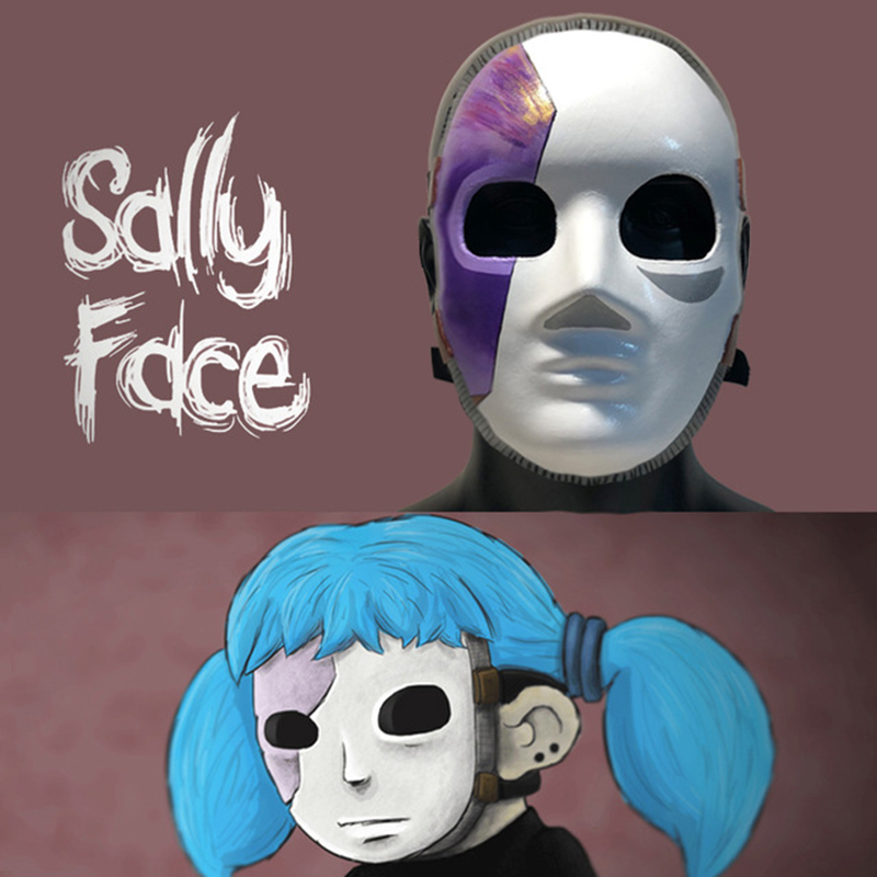 Face Masks Cosplay Latex Masks Wig Costume Prop For Halloween Party Sally face