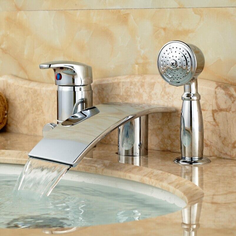 Chrome Finish Waterfall Spout Bath Tub Mixer Water Faucet Single Handle Deck Mount Bath Shower Mixer Tap 3PCS<br><br>Aliexpress