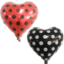 ladybug Heart Polka Dot Helium Foil Balloons 18inch 5pcs red and black balloons wedding birthday party decorations kids supplies(China)