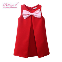 Pettigirl New Design Red Summer Girl Dress With Pink Cute Bows Sleeveless Christmas Girls Dresses Retail Kids Wear GD80905-211F(China)
