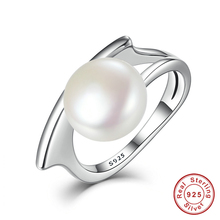 Authentic 100% 925 Sterling Silver Freshwater Cultured Pearl Rings Jewelry(China)