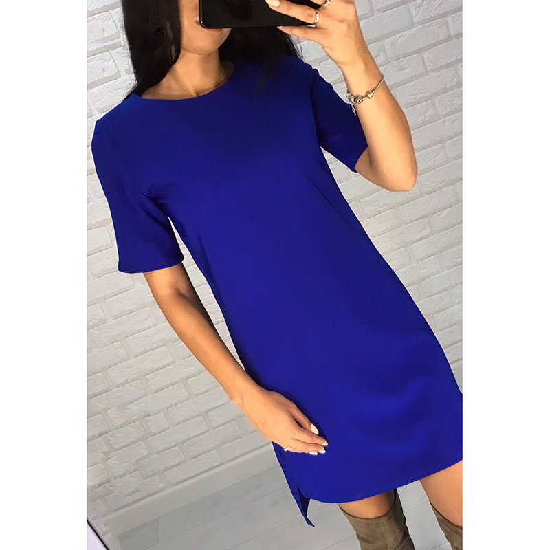 Summer Women Solid Casual Simple Style Slim dress 2018 New O-Neck Short Sleeves Hem asymetrical Beach Party Mini dresses
