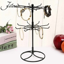 Hot Metal Jewelry Holder Rack Cute Double Rotation Shape Hanging Earrings Bracelets Rings Necklace Display Stand Shelf Organizer
