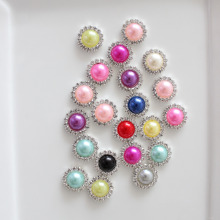 16mm pearl rhinestone button wedding embellishment headband DIY accessory flatback environmental protection plating 1000pcs/lot