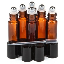 6 X 10ml Amber Glass Essential Oil Bottles Roll On Vials with Stainless Steel Roller Ball Black Cap Lid for Aromatherapy Perfume(China)