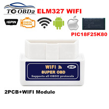 Super OBD2 Scanner ELM327 WIFI Hardware V1.5 Supports Android/iOS/Windows With PIC18F25K80 ELM 327 Wi-Fi Diesel Cars Best Sale