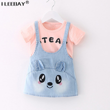Baby Girl Cute Clothing Girls Denim Sundress One Piece Tshirt and Jeans Suspender Dress Kids Casual Printed Dress Lovely Costume