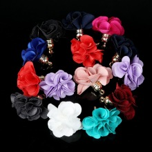 Wholesale 30pcs/lot 3x2.5cm Fabric Flower Tassel Charms Pendants for Earring Keychain Cellphone Straps Bag Hanging Accessories