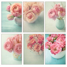 No Frame (8 Colors) Modern Pink Rose Flower Canvas Painting Flower in Vase Home Decoration Haning On Wall Pictures Living Room