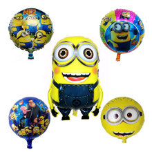 5pcs lot Despicable Me Minions balloon birthday party Foil helium balloon yellow man cartoon air globos(China)