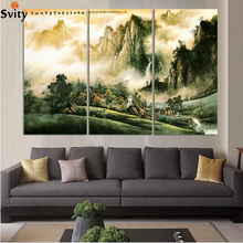 3pcs Chinese Traditional Landscape Oil Painting Print On Canvas Home Decor for restaurant & livingroom Wall Art Unframed F294(China)