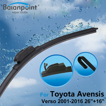 "2Pcs Wiper Blades + 2pcs soft Rubbers for Toyota Avensis Verso 2001-2016 26""+16"", Direct Fit Windscreen Wipers(China)"
