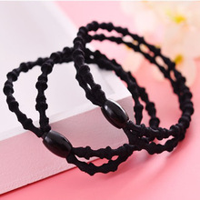 2017 New Fashion Girls Headwear Scrunchy Elastic Hair Bands Solid Black Bandage Head Headbands Gum Rope Accessories For Women(China)
