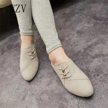 WZV 2017 New Hot Selling Spring Casual Women Shoes Women Nubuck Leather lace-Up Flat Shoes Handsome Head Toe Shoes