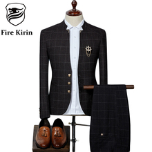 Fire Kirin Mens Plaid Suits Latest Coat Pant Designs Chinese Style Stand Collar Slim Fit Groom Wedding Suit Formal Wear Q341(China)