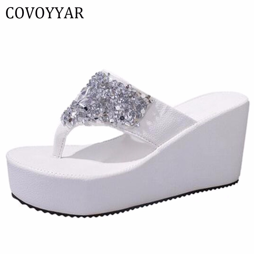 6a5a869afdf6c6 EFFGT 2017 new Thick Bottom Platform Flip Flops Rhinestone Wedge Heel Shoes  Patchwork Woman Summer Sandals ...