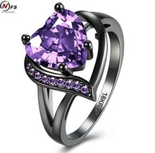 New Romant Class Purple Heart Fire Opal Ring Vintage Black old Filled Crystal Wedding Jewelry Promise Engagement Rings