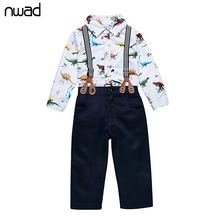 2017 Fashion Newborn Baby Clothes Suspender Dinosaur Print Clothing Suit For Baby Boy Party Suit Infant Autumn Clothing FF224