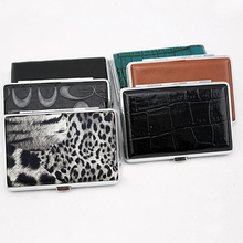 Fashion Metal Faux Leather Top Hold A Pack 14Pc Cigarette Hard Box Case Holder(China)
