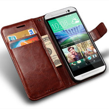 Cover Case For HTC One M8 Luxury PU Leather Wallet Case For HTC One M8 Flip Cover with Stand Design and Card Slot Black Brown(China)