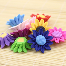 Wholesale 20pcs Mixed Colorful Sunflower Shaped Polymer Clay Flower Beads With Hole 30mm Spacer Charm Loose Beads For Jewelry(China)