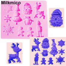 Milkmico M113 Food Grade 3D Christmas Tree/ Deer/Snowman/Snowflake/Santa Claus Shape Silicone Mold Cake Decorating Tool(China)