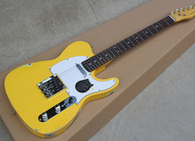 Factory Wholesale Retro Yellow Body Electric Guitar with White Pickguard,String-thru-Body design,Yellow Neck,Offer Customized
