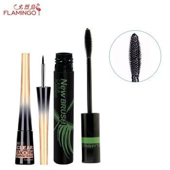 Livraison Gratuite Chine top marque Flamingo Pas en fleurs Incroyable allongement 11 ml mascara waterproof 2.8 ml eyeliner pour paquet ensemble
