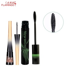 Free Shipping China top brand Flamingo No blooming Amazing lengthening 11ml mascara waterproof 2.8ml eyeliner for package set(China)