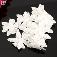 15 Yards White Embroidered Flower Lace Edge Trim Applique DIY Ribbon Wedding Polyester Fabric Sewing Craft(China)