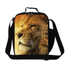 Brand New Animal Cool Lion Print Mens Lunch Bag For Working Children Teenage Lunch Box College Student Thermal Shoulder Food Bag