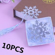 10PCS Snowflake Bookmark Favor Boda First Communion Gift Baby Shower Recuerdos Para Bautizo Wedding Favors and Gifts For Guest(China)