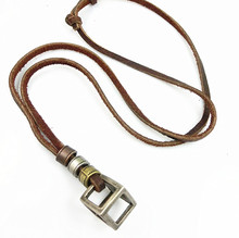New Fashion Cow Real Leather Long Necklaces For Men Male Box Cube Metal Pendant Punk Vintage Brown Rope Chain Lovers Jewelry