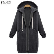 ZANZEA Women 2017 Autumn Winter Casual Long Hoodies Sweatshirt Coat Zip Up Outerwear Hooded Jacket Plus Size Outwear Tops(China)