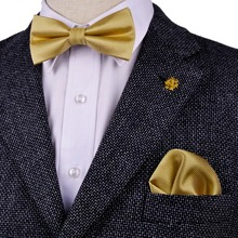 Free Shipping Solid Checked Gold Yellow Cream Mens Pre-tied Tuxedo Bow Tie Hanky 100% Silk Adjustable Wholesale Casual Wedding(China)